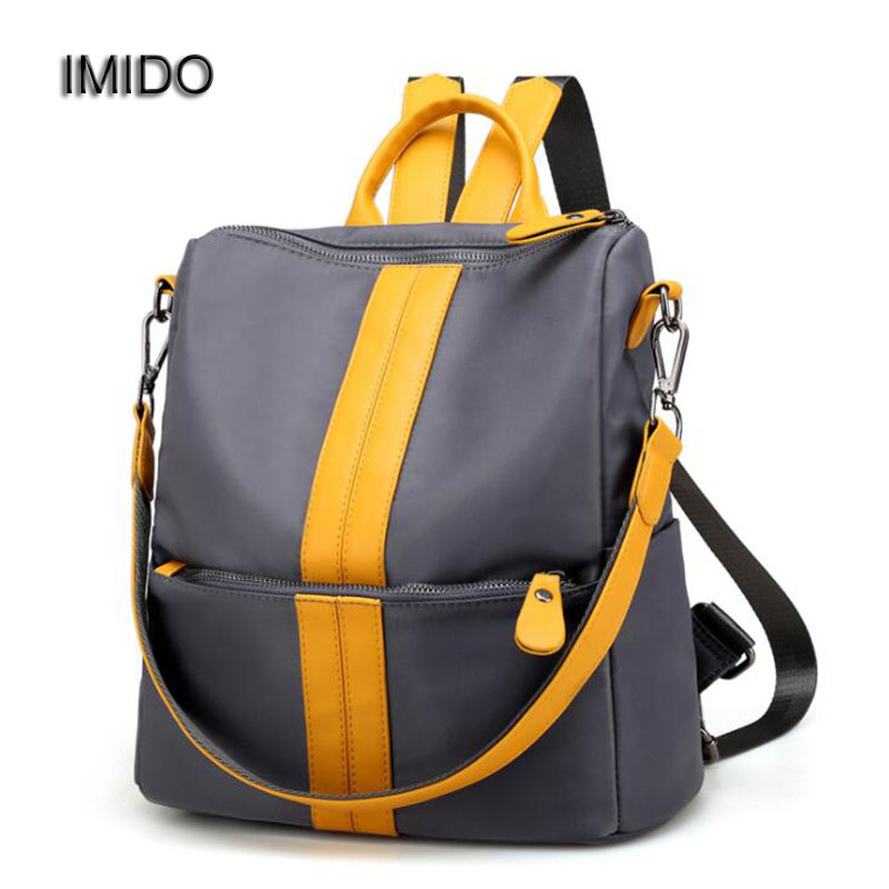 IMIDO Women Backpack Nylon Waterproof Backbag for girls School Bags Travel Shoulder Bag Black escolar mochilas mujer 2017 SLD031