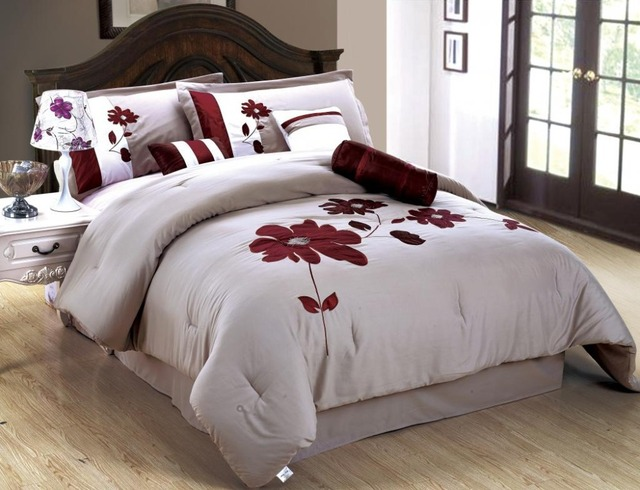 Homehug 7Pcs Comforter Set Bedding Home Textiles White Red Flower