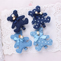 2016 New Fashion Korean Bear And Rabbit Handmade Blue Denim Bow Hair Clips Hairpins Girls Women Barrettes Hair Accessories