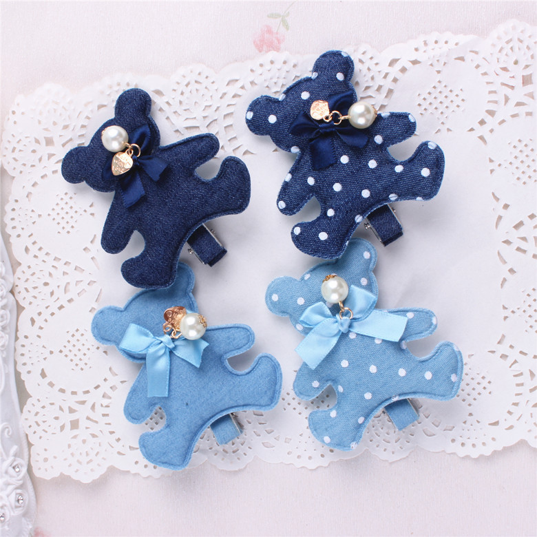 Nytt mode koreansk björn och kanin handgjord blå denim rosett hårklipp hårnålar flickor kvinnor barrett hårtillbehör