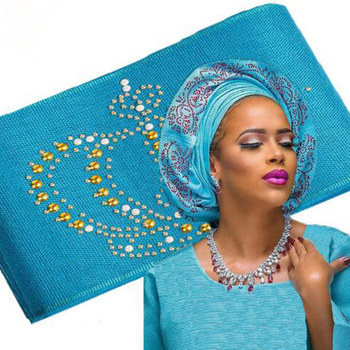 2017 Latest Beautiful Stones and Beads African Aso-Oke Headtie Solid and Plain 8.6 meters for Party or Wedding Hot Sale TL170602