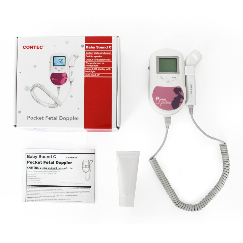 CONTEC Baby Sound C Prenatal Fetal Doppler Maternity Baby Heart Ultrasound Monitor 3MHZ Probe medical diagnostic tool fetal heart doppler jpd 100s6 pocket prenatal baby sound monitor 3mhz probe and large color lcd display