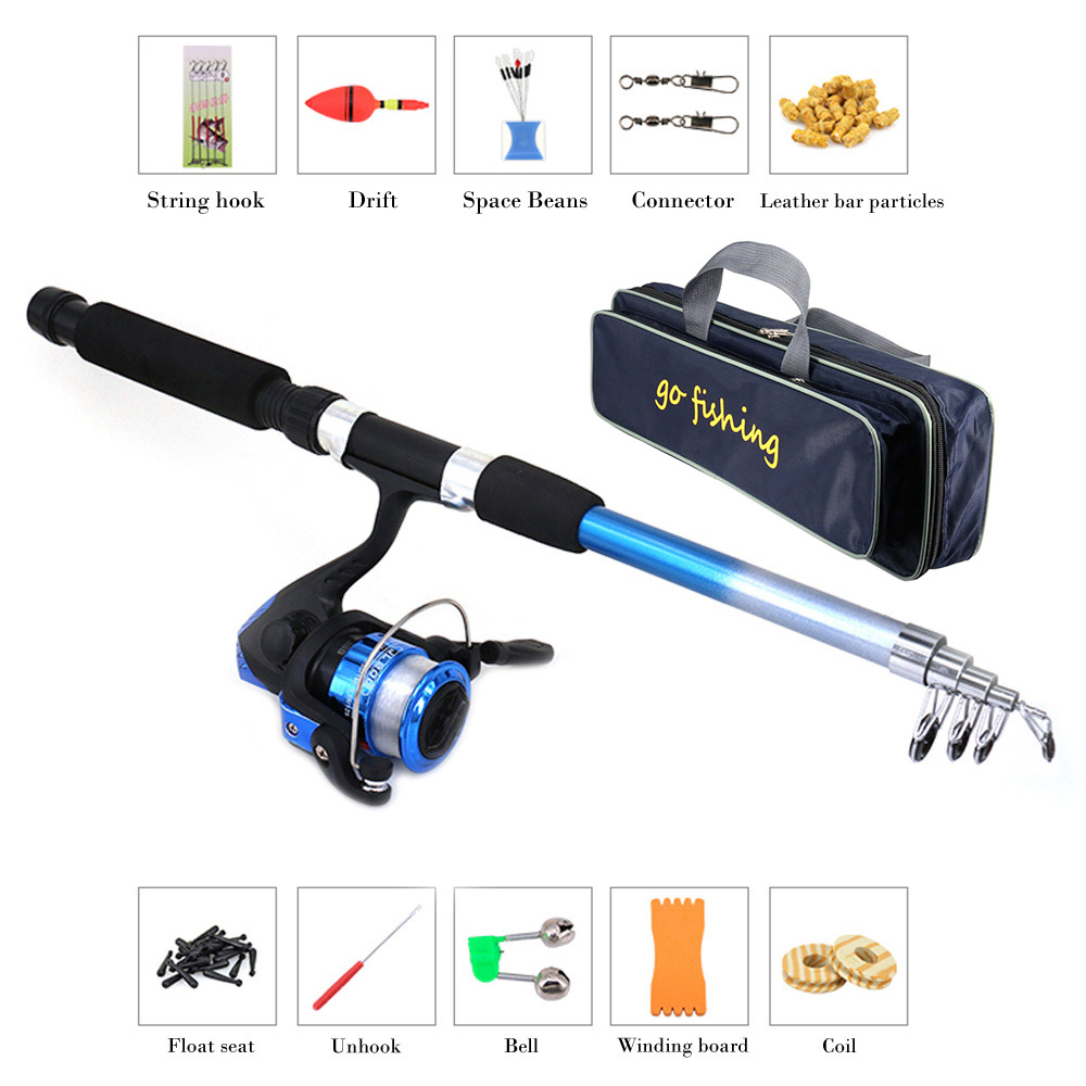 Fishing Rod And Reel Rod Combo Kit De Pesca W/ Portable Fishing Storage Bag Olta Takimlari Spinning Reel Gear Pole Set Line Lure