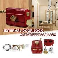 De hierro fundido Anti-robo puerta Exterior Retro rojo cerraduras múltiples seguro cerradura de la puerta de seguridad