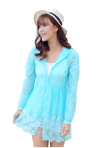 Women Basic Jacket Sun Protection Hooded Coat  Lace Emb . Anti-UV  Outwear Plus Size Lady Summer Ultrathin  Sunscreen Jacket