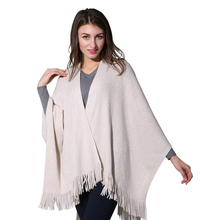 2019 Solid silver lurex Tassel Poncho Womens Knitted Coat Winter Scarves Fashion Thick Warm Ponchos and Capes Big Size LL190520