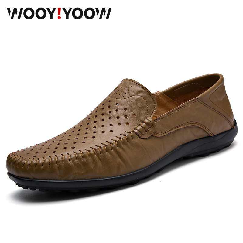 WOOY!YOOW Men's Loafers Breathable Genuine   Leather   Moccasins Men's Casual Shoes Soft Sneakers 2019 New Summer Driving Shoes