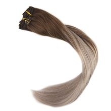 Full Shine 10 Pcs Real Hair Extensions Clip In Hair Color #4 Chocolate Brown Fading to #18 Ash Blonde Ombre Balayage Extensions