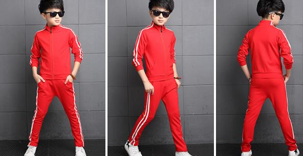 Image 5 - Teenager Boys Clothing Sport Suit Kids Girls Clothing Set Zipper Jacket+Long Pant 2PCS Striped Children Tracksuit Set for 4 16Y-in Clothing Sets from Mother & Kids