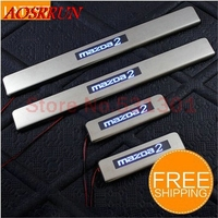 Free Shipping LED Stainless Steel Door Sill Scuff Plate For Mazda 2 2005 2012 Emblems