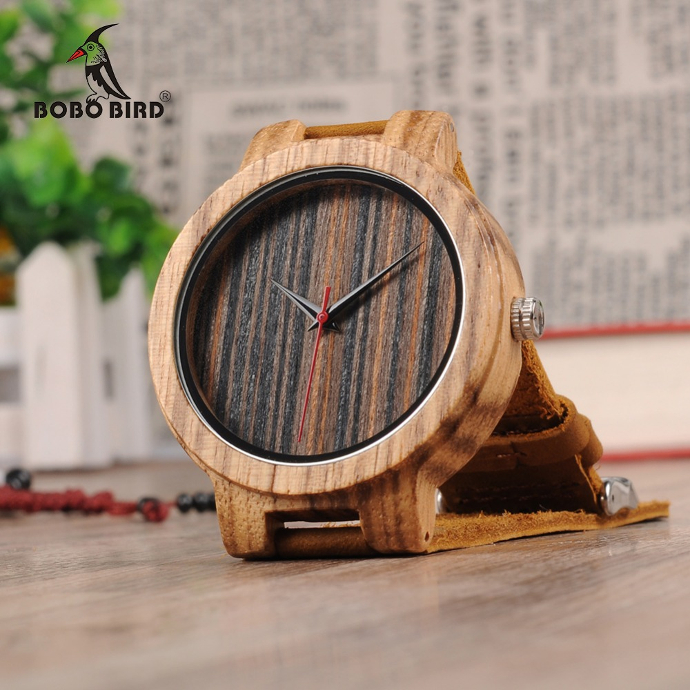BOBO BIRD Bamboo Wooden Watches Classic Brand Design Soft Leather Band Wood Watch for Men Women bobo bird brand new wood sunglasses with wood box polarized for men and women beech wooden sun glasses cool oculos 2017
