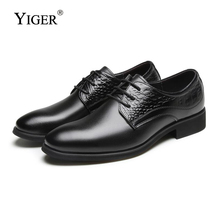 YIGER NEW Man Dress shoes Genuine Leather Lace-up Men Business wedding Black/Brown Point Toe free shipping 0139