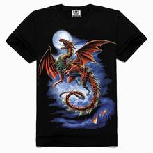 2015 men fashion tshirt New style Free shipping men cotton t shirt Evil dragon 3D