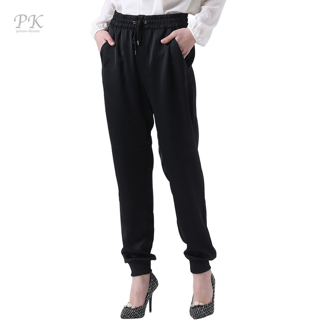 PK черный штаны-шаровары женщин бегунов Спортивная Штаны женские шаровары 100% полиэстер Панталон плюс Размеры Фитнес Брюки
