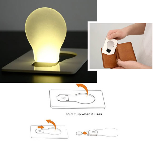 New Design Portable Led Card Pocket Light Bulb Lamp Wallet Size Free Shipping Nvie