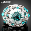 YANHUI Elegant Flower Design Real White Gold Plated Blue Stellux Crystal Rings For Women Fashion Jewelry YR212