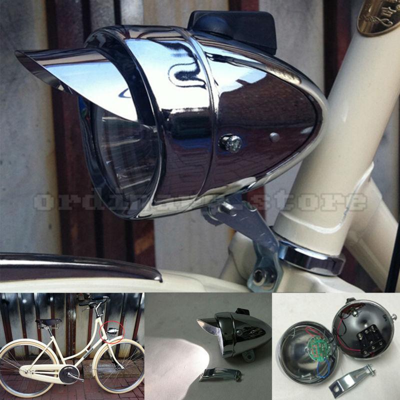 Motorcycle Super Bright 180LM Chrome Metal Retro Vintage Bicycle Bike Cycling LED Front Head <font><b>Light</b></font> Headlight Fog Safe Night Lamp