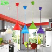 Lámpara colgante de comedor de Gel de sílice Flexible moderna, vestíbulo/estudio/Librería/cafetería, candelabro de interior E27 110-240V