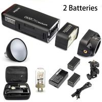 Godox AD200 2.4G Wireless X System TTL HSS 1/8000s Pocket Flash w/ 2 Batteries + Standard Reflector for Canon Nikon Sony Camera