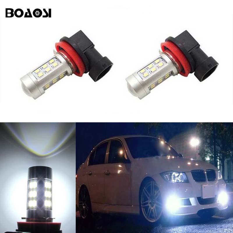 BOAOSI 2x H11 H8 LED Car Lights Fog Light DRL Bulb For BMW E39 325 328 M mini SPORT Car Accessories h11 h8 led projector fog light drl no error for bmw e71 x6 m e70 x5 e83 f25 x3 2004 for e53 x5 2003 2006 e90 325 328 335i