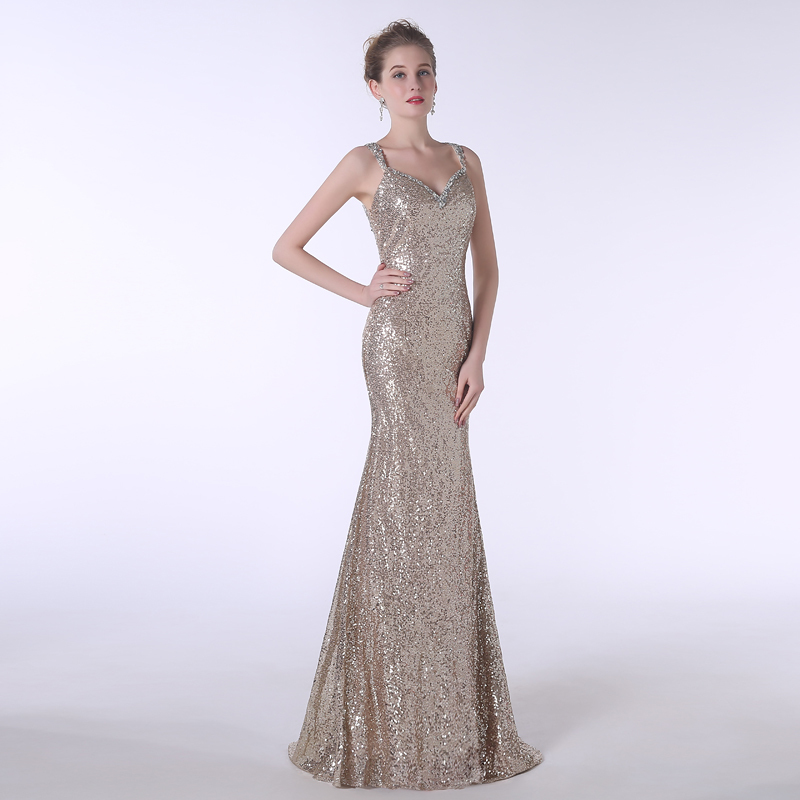 Actual Photos Sequins <font><b>Evening</b></font> <font><b>Dress</b></font> <font><b>Sexy</b></font> Mermaid Spaghetti Straps Sleeveless Formal Party Gown Plus Size image