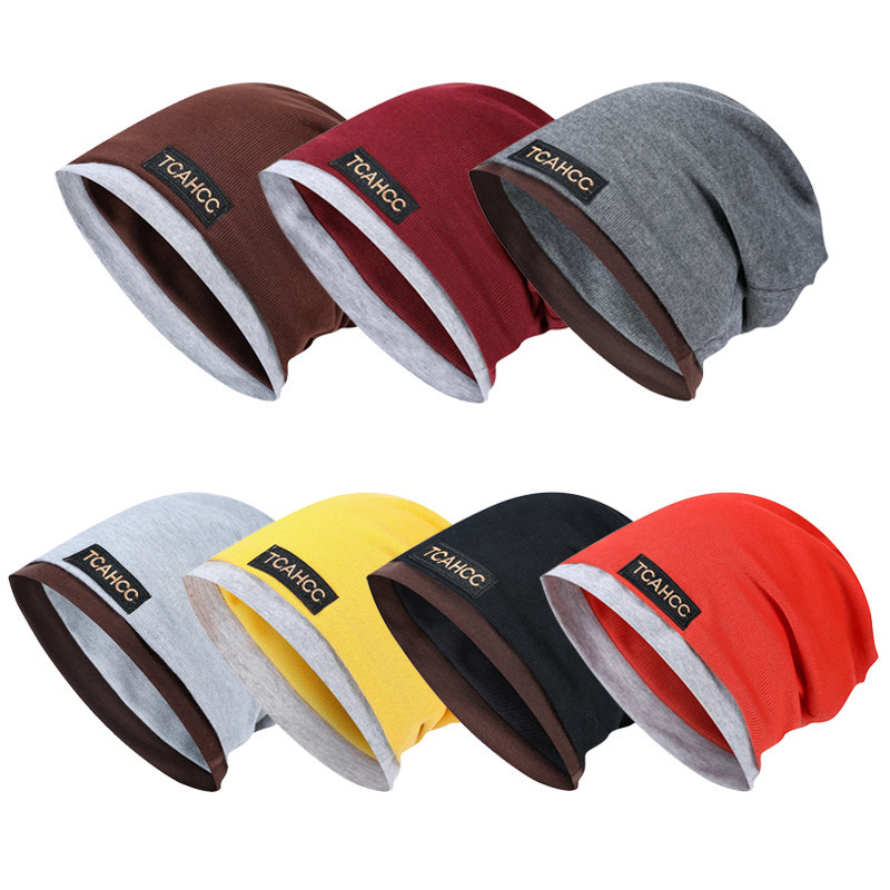 Solid Color Unisex Men Women   Skullies     Beanies   Hedging Cap Knit Knitted Cotton Double Layer Fabric Caps Bonnet Hat