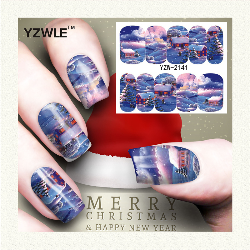 YZWLE 1 Sheet Christmas Design DIY Decals Nails Art Water Transfer Printing Stickers Accessories For Manicure Salon (YZW-2141) yzwle 1 sheet hot gold 3d nail art stickers diy nail decorations decals foils wraps manicure styling tools yzw 6015