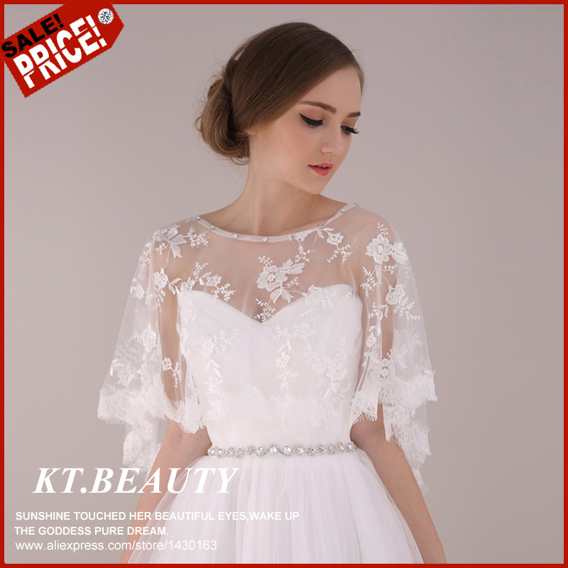 2015 New Plus Size Bridal Jackets White/Red Lace Bridal