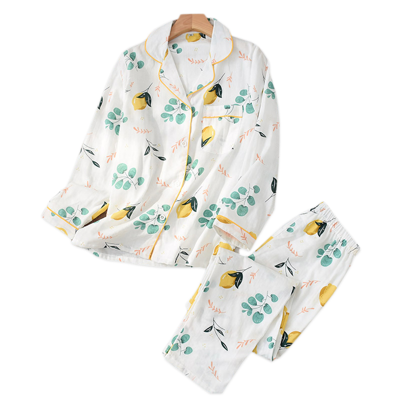 Spring Fresh Pajama Sets Women  Gauze Cotton Cartoon Long Sleeve Casual Cozy Summer Sleepwear Women Pyjamas Summer