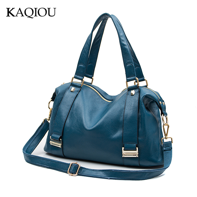 KAQIOU Natural Cowhide Women Handbag Genuine Leather Bags Ladies Big Shoulder Handbags Fashion Women Messenger Bags Casual 2018 new fashion top handle bags women cowhide genuine leather handbags casual bucket bags women bags rivet shoulder bags 836