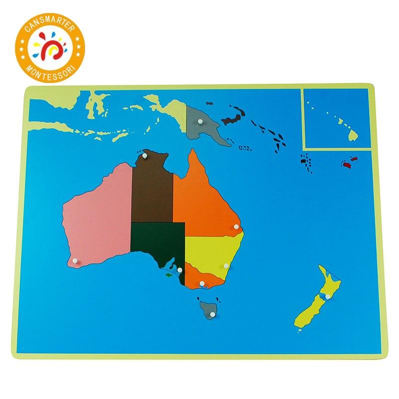 Цветные части пазлов мира Монтессори карты с ручкой игры, география, детские деревянные доски, игрушки, обучающие приспособления, головоломка, Карта мира - 6