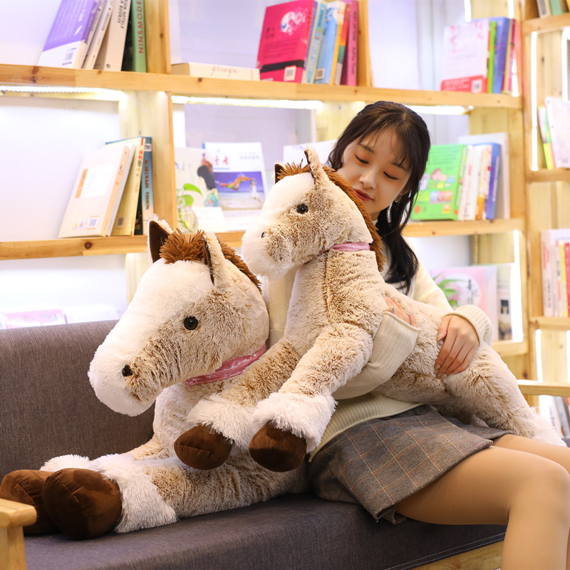 New 90/120cm Giant Simulation Horse Plush Toy Stuffed Soft Cute Animal Lovely Unicorn Style Doll for Birthday Gift Home Decor