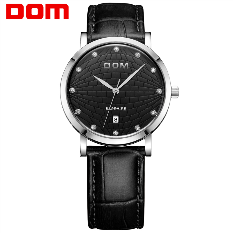 лучшая цена Dom top brand for men watch casual waterproof vintage table ultra-thin table fashion genuine leather strap male watches M-259