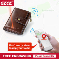 GZCZ Genuine Leather Wallet Men Coin Purse Small Male Clutch Wallets Portomonee Hasp Mens Money Bag Card Holder Free Engraving