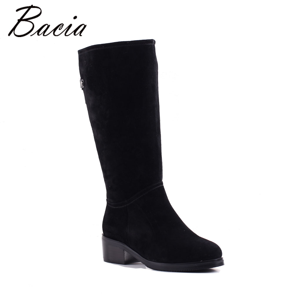 Bacia Sheep suede Boots Widges Heels Black Genuine Leather Boots Women Winter warm Wool Fur shoes Classic Shoes MB013 bacia winter fashion women s boots genuine leather sheep suede snow boots classic wool fur warm high heels ankle shoes sb103