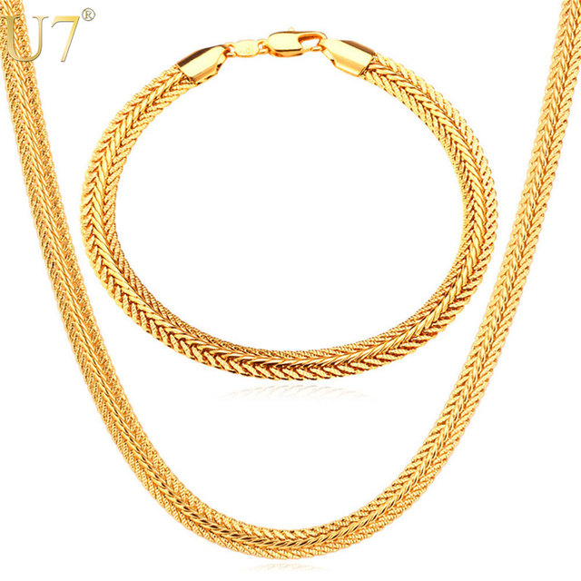 U7 Men Chain Necklace Set Wholesale Trendy Rose GoldGold Color 6MM