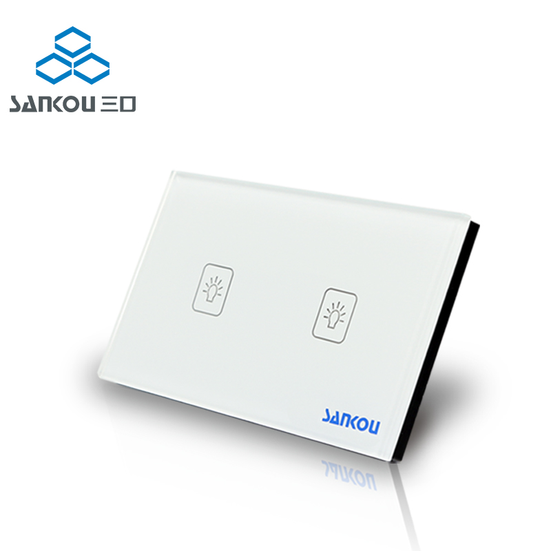 Manufacturer Wall Switch 110~250V Touch Sensitive Switch Ivory White Glass Panel 2gang US Touch Light Switch with LED indicator manufacturer smart home white crystal glass panel us au wall light touch switch 2 gang 1 way power 110 250v with led indicator