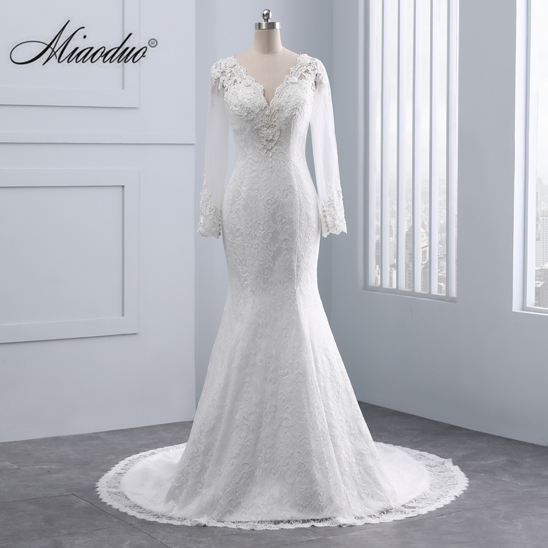 Vestido De Noivas Sereia Long Sleeves Lace Wedding Dress Sexy V Neck Mermaid Wedding Dresses Robe de mariage Bride Gowns 2019