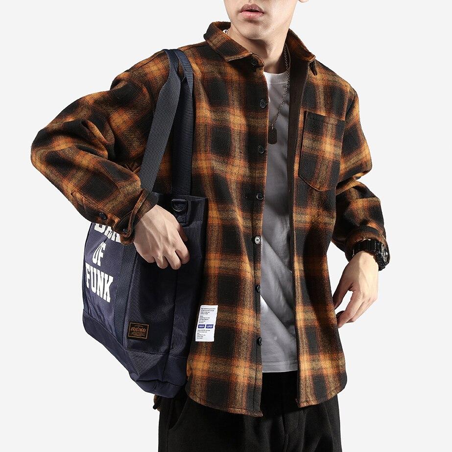 Hiver style japonais grille chemises harajuku manteau kpop mode hommes lâche manches longues blouse hip hop chemise garçon modis décontracté mâle