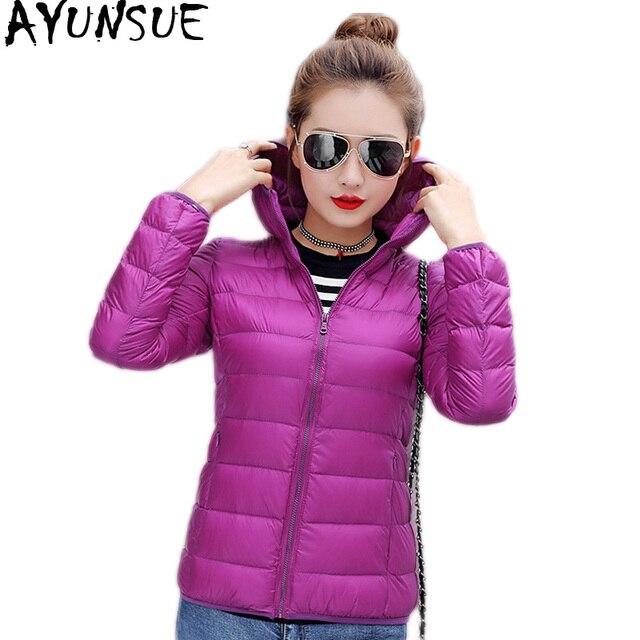 79dc304d4d0e3 AYUNSUE Ultra cienkie dół kurtki kobieta z kapturem Plus Size kobiet  płaszcze lekkie płaszcz zimowy kurtki