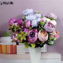12-13branches/bouquet large artificial peony flowers Silk Decorative Fake Flowers For Hotel Wedding Garden Home Decor
