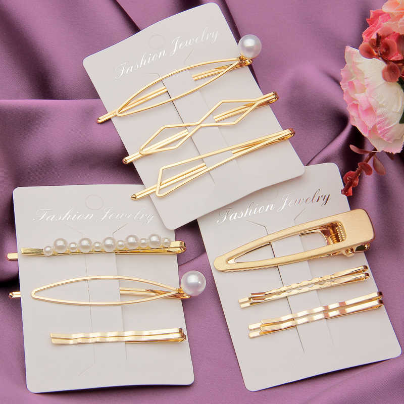 1 Set Solid Pearl Hair Clips for Women Hair Barrette Fashion Hairpins Snap Barrettes Trendy Handmade Hair Styling Accessories