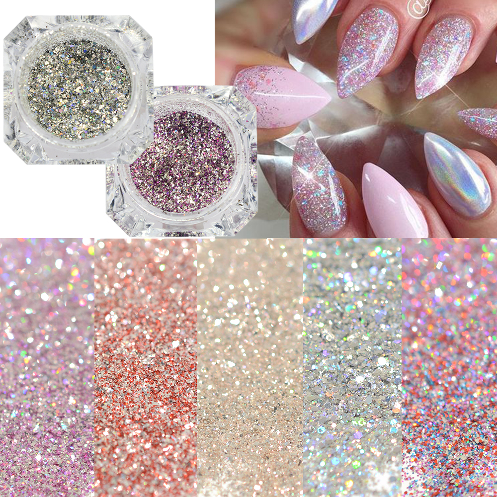 1Box Platinum Shiny Nail Glitter Powder Laser Sparkly Diamond Manicure Nail Art Chrome Pigment DIY Nail Art Decoration LABG01-26 nail glitter 1box 1g ab color iridescent flakies star heart round nail art sequins decoration manicure paillette pink silver