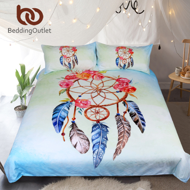BeddingOutlet Dreamcatcher Bedding Set Queen Floral Rose Quilt Cover Simple Dream Catcher Comforter
