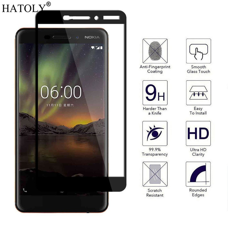 2pcs Glass For Nokia 6.1 Tempered Glass Screen Protector For Nokia 6.1 Full Cover Glass For Nokia 6.1 6 2018 Glass Film HATOLY