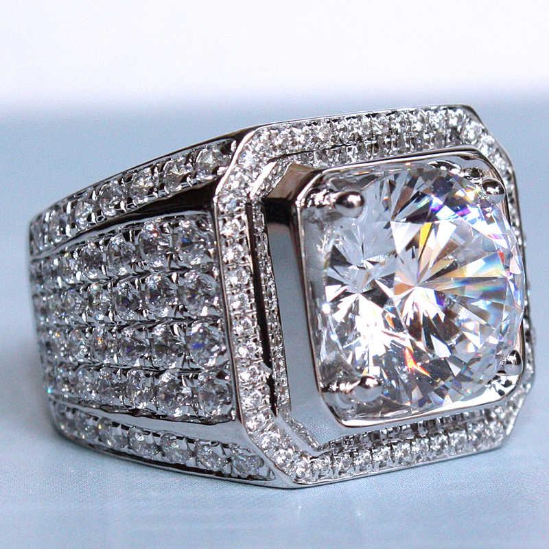 Choucong Solitaire bague homme grand 4ct 5A zircon Sona cz 925 bague de fiançailles en argent Sterling pour hommes bijoux fins