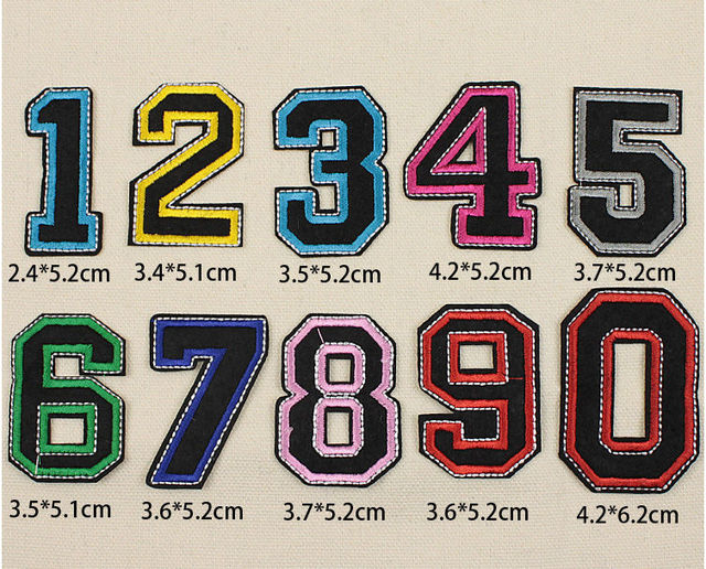 Colour number iron On patches sporting goods embroidered Appliques Made of  Cloth wholesale