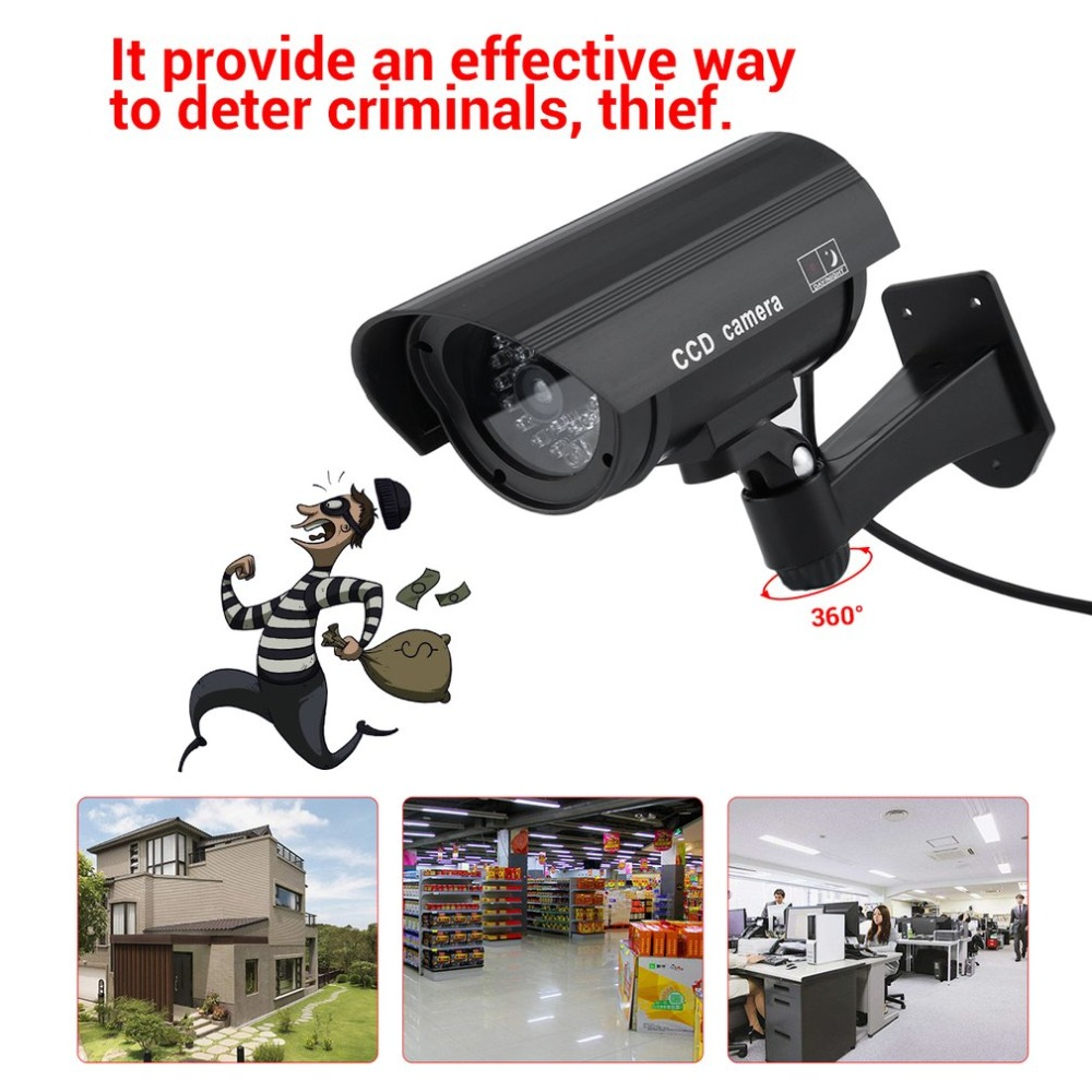 Waterproof Outdoor Indoor Home Security Guard Dummy CCD Camera Simulation Surveillance Camera Built In LED Flashing Light