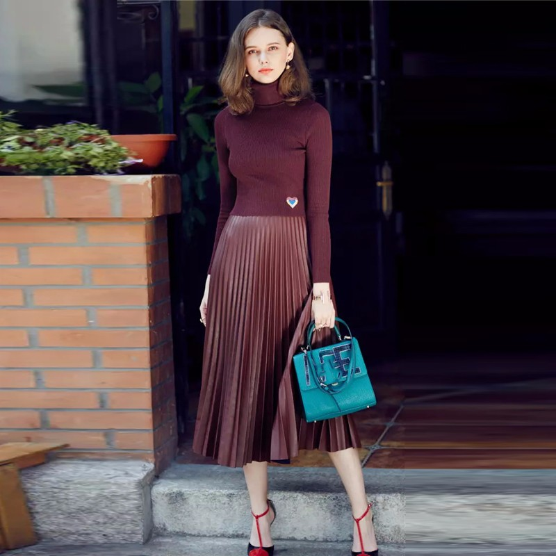Chic 2017 Faux Leather Pleated Skirts Mid Calf Zipper Dark Wine Green Vintage Maix Skirt For Women Black 75 Cm Length Clothing image