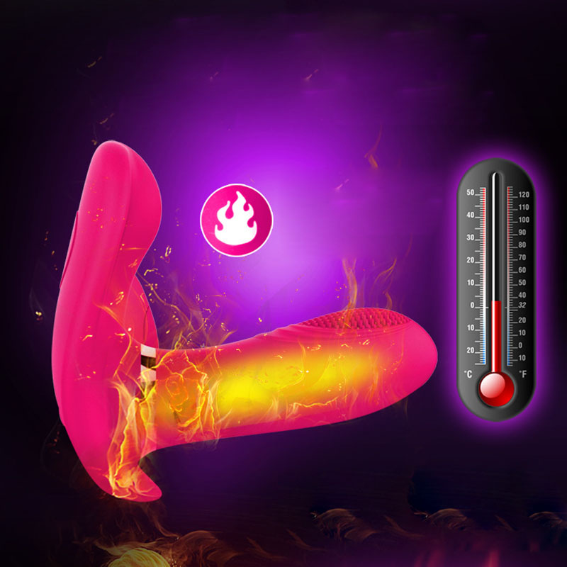Wearable Dual G-spot Heating Vibrator Wireless Remote Control Butterfly Magic Wand Masturbation Vibrators Sex Toys For Women magic motion magic wand app remote control g spot vibrator dildo clitoral massage anal masturbation sex toys products for women